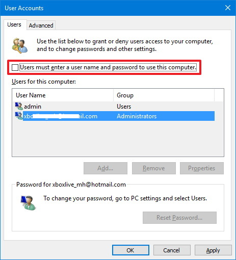 Windows 10 User Accounts (netplwiz)