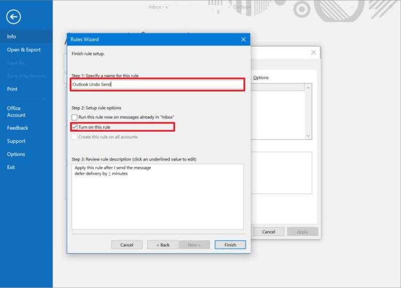 Outlook undo send rule