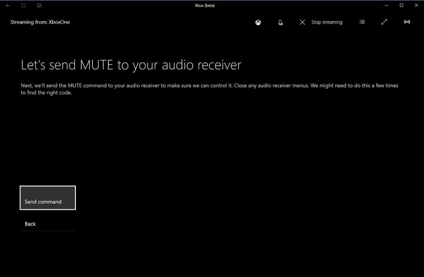 Send mute command to detect audio receiver