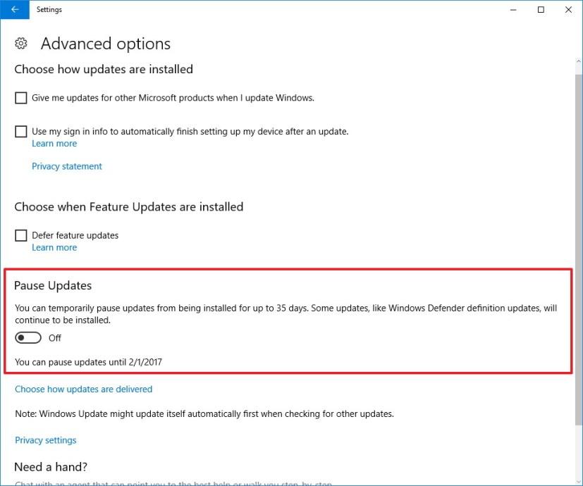 Windows 10 Pause Updates settings