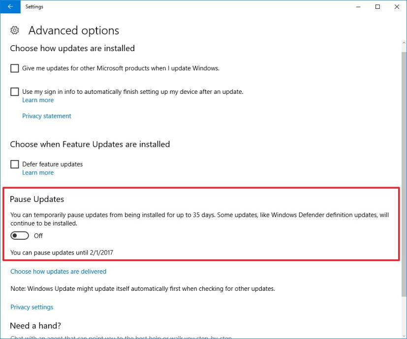 Windows 10 Pause Updates settings