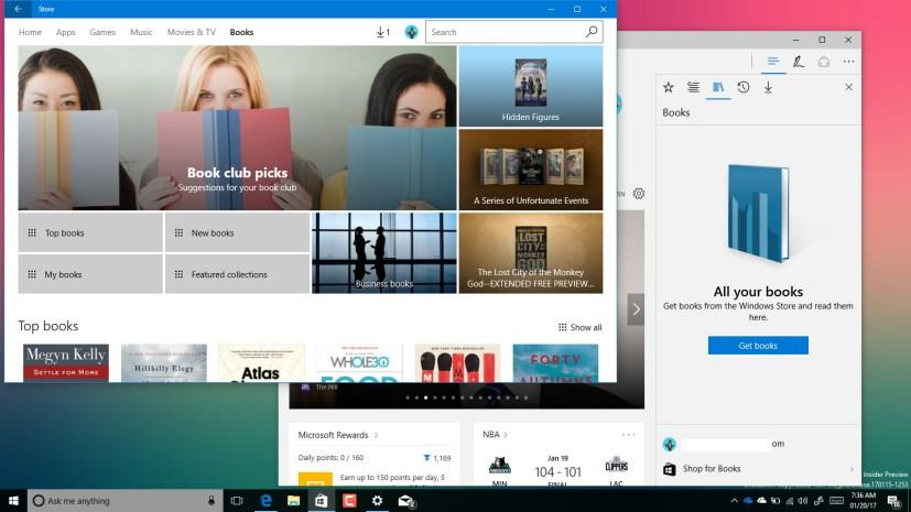 Windows 10 ebook store and Microsoft Edge Books library