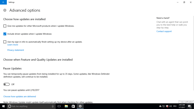 Include driver update when I update Windows