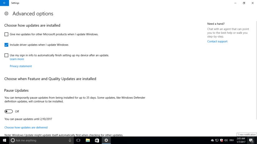 Include driver update when I update Windows