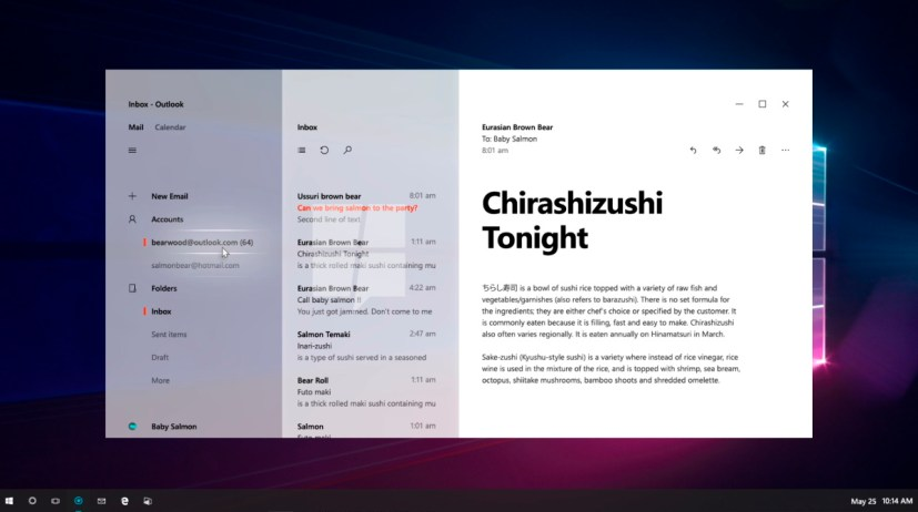 Mail using Project Neon (concept)