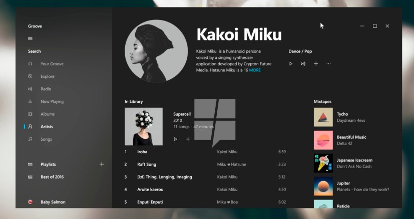 Groove Music using Project Neon interface (concept)