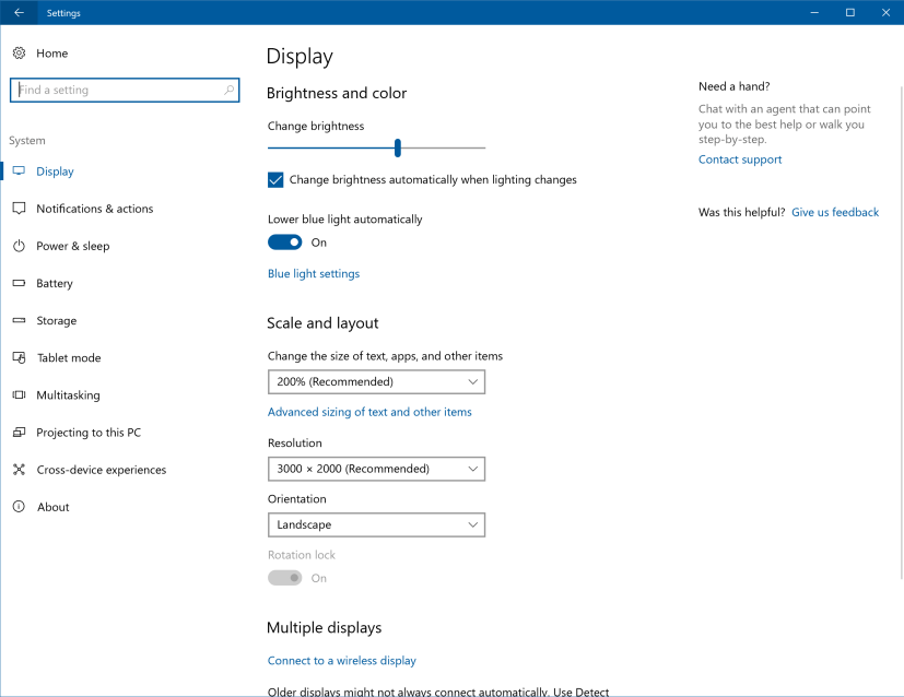 Updated Display settings on Windows 10