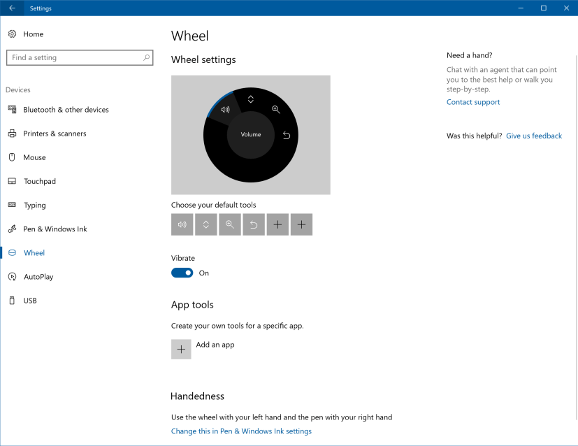 Surface Dial settings