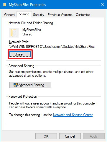 Folder Sharing tab