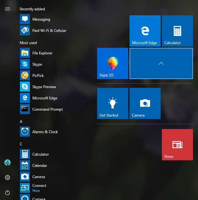 Start menu folders on the Windows 10 Creators Update