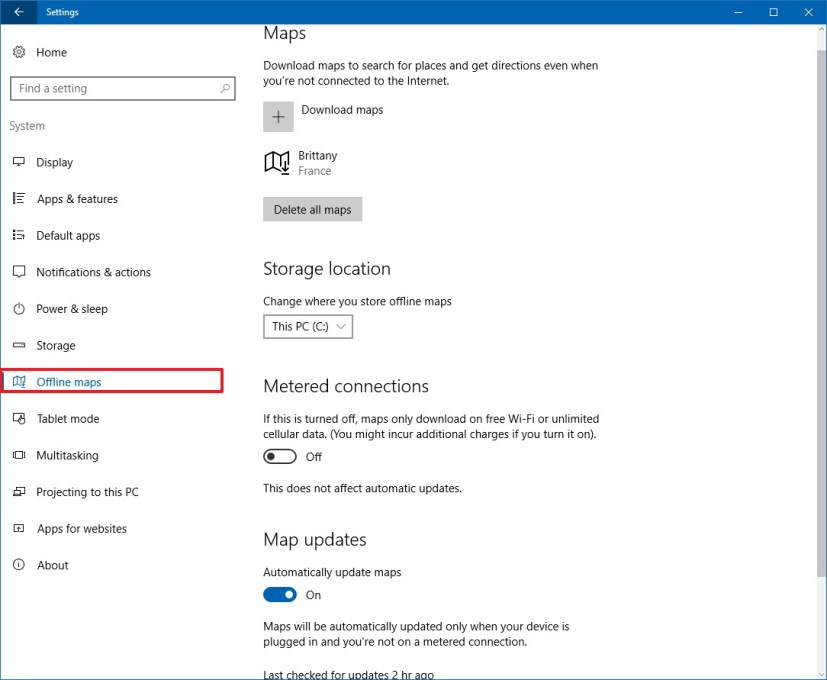 Offline maps customization settings