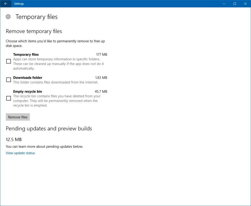 Storage, Temporary files customization settings