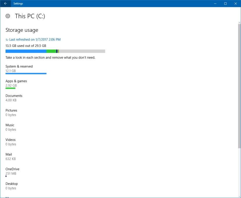 Storage, Storage usage customization settings