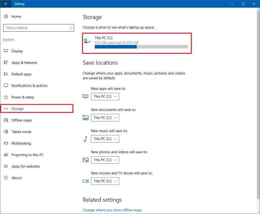 Storage customization settings