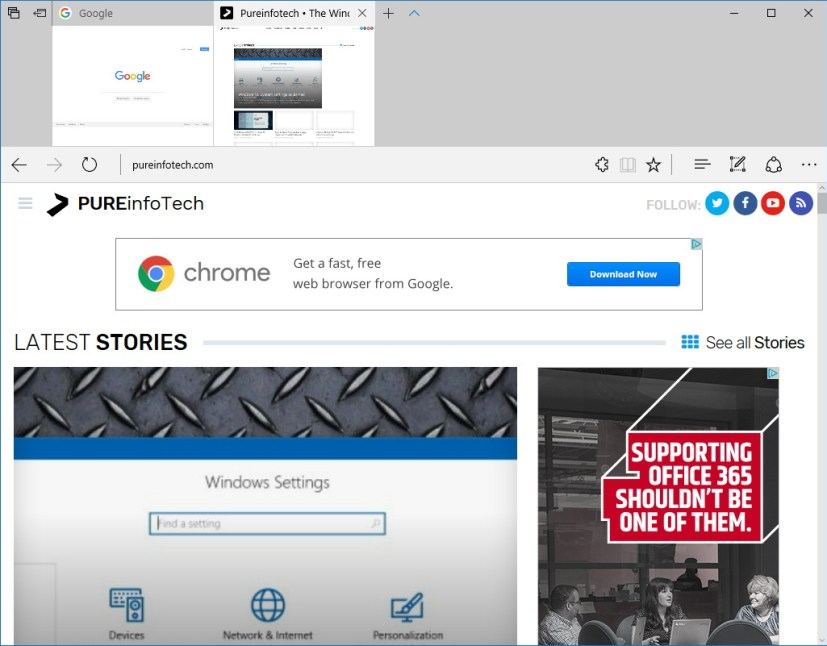 Microsoft Edge Tab Preview Bar