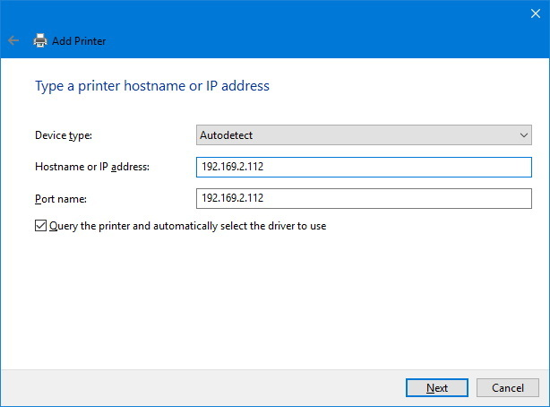Add printer hostname or IP address