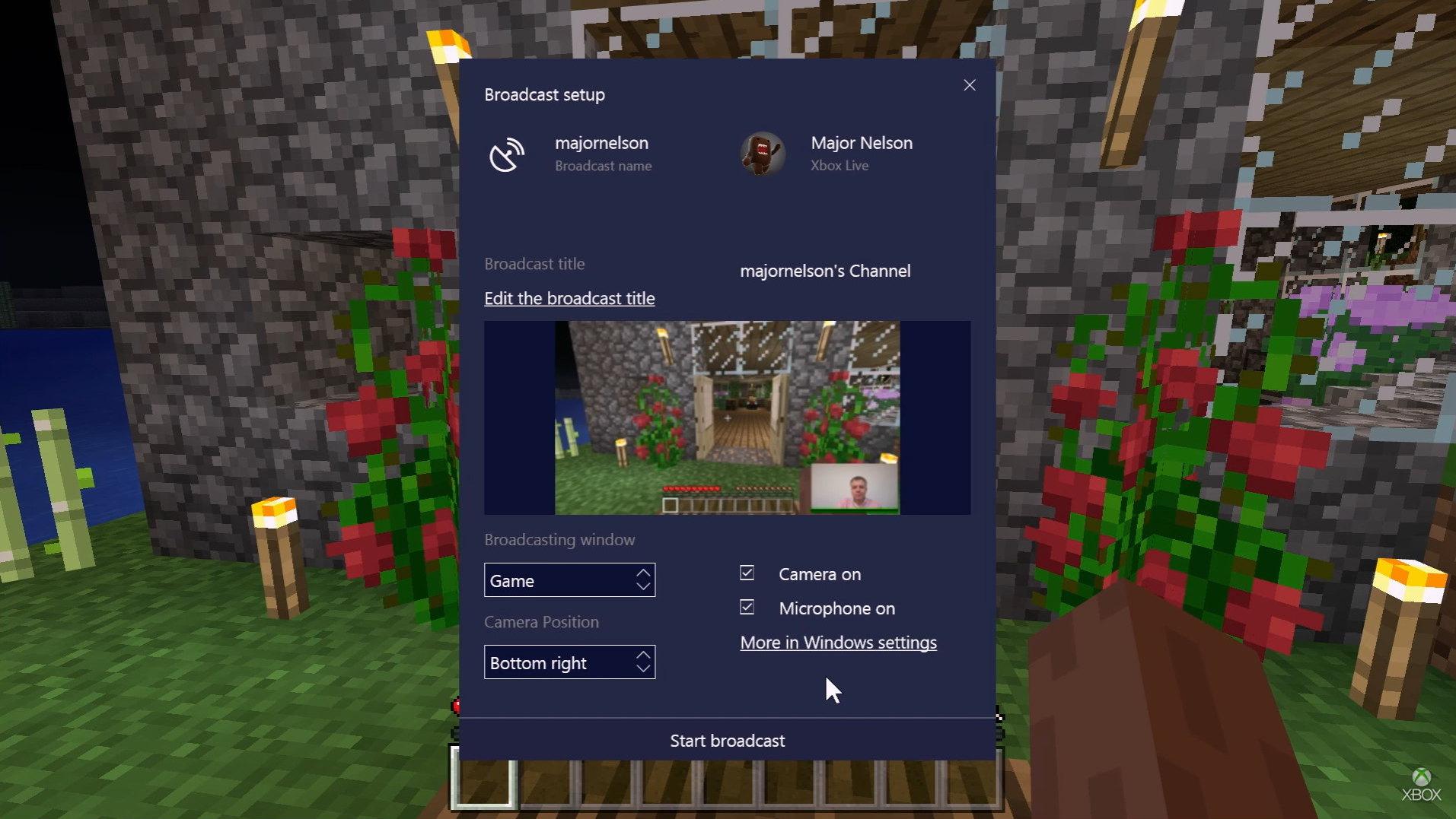 Beam broadcast on Windows 10