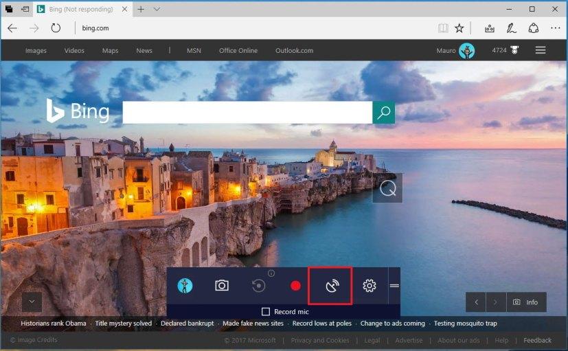 Windows 10 GameBar with Beam