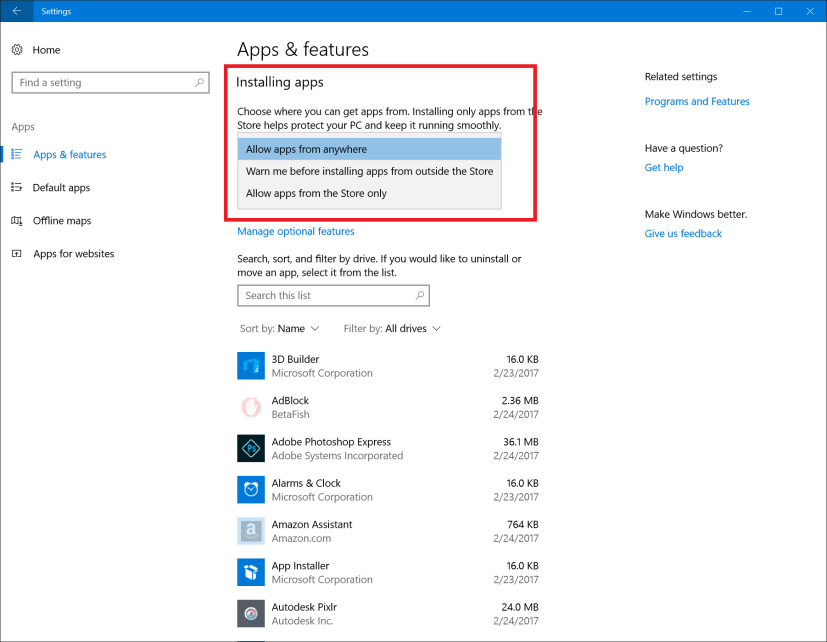 Choose what type of apps are allowed to be installed on your PC