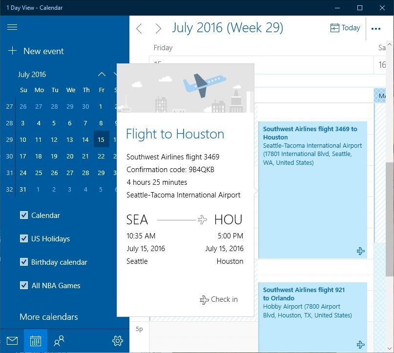 Windows 10 Calendar Travel Reservations and Package Deliveries