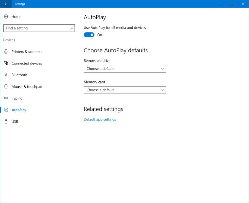 AutoPlay customization settings