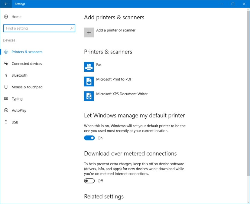 Printers and scanners customization settings