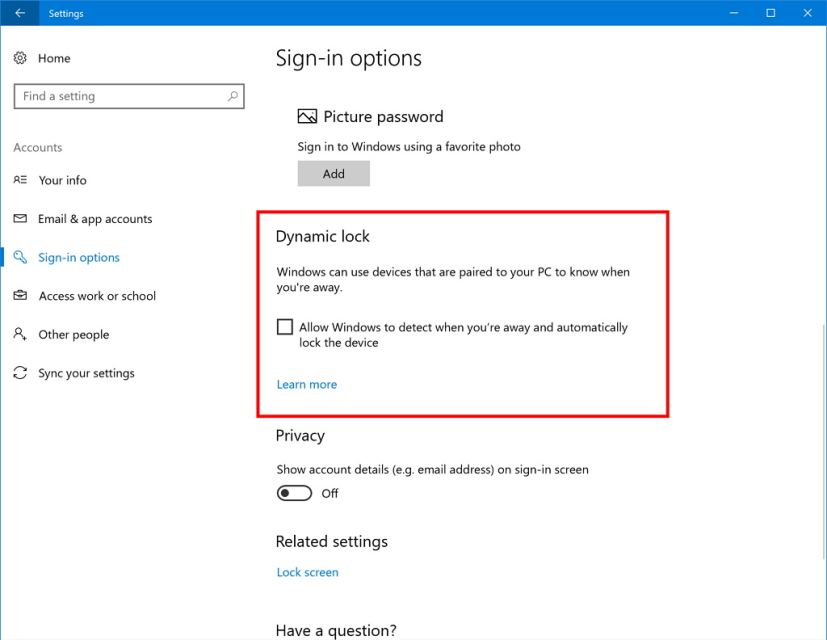 Enable Dynamic Lock on Windows 10