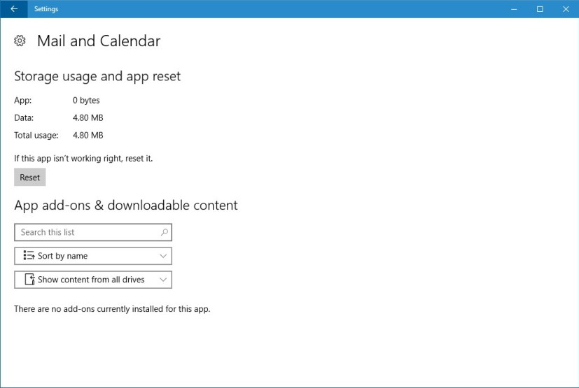 Mail & Calendar reset option on Windows 10