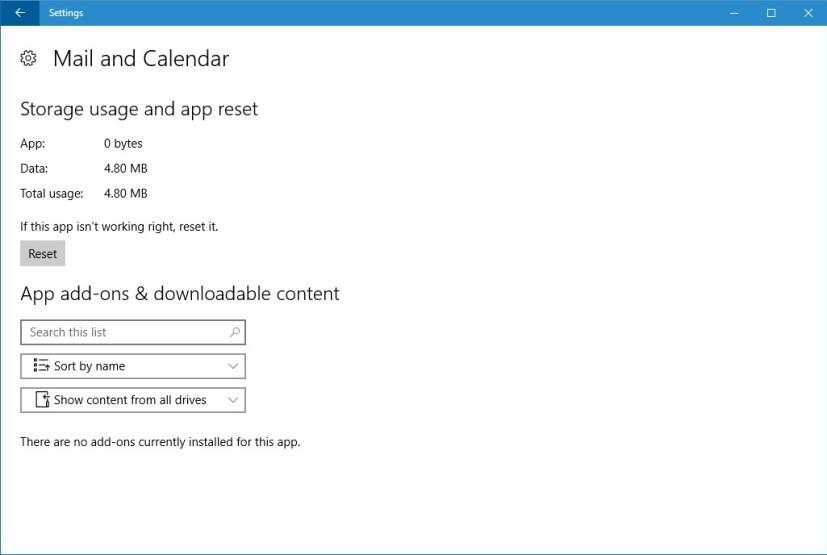 Mail & Calendar reset option on Windows 10