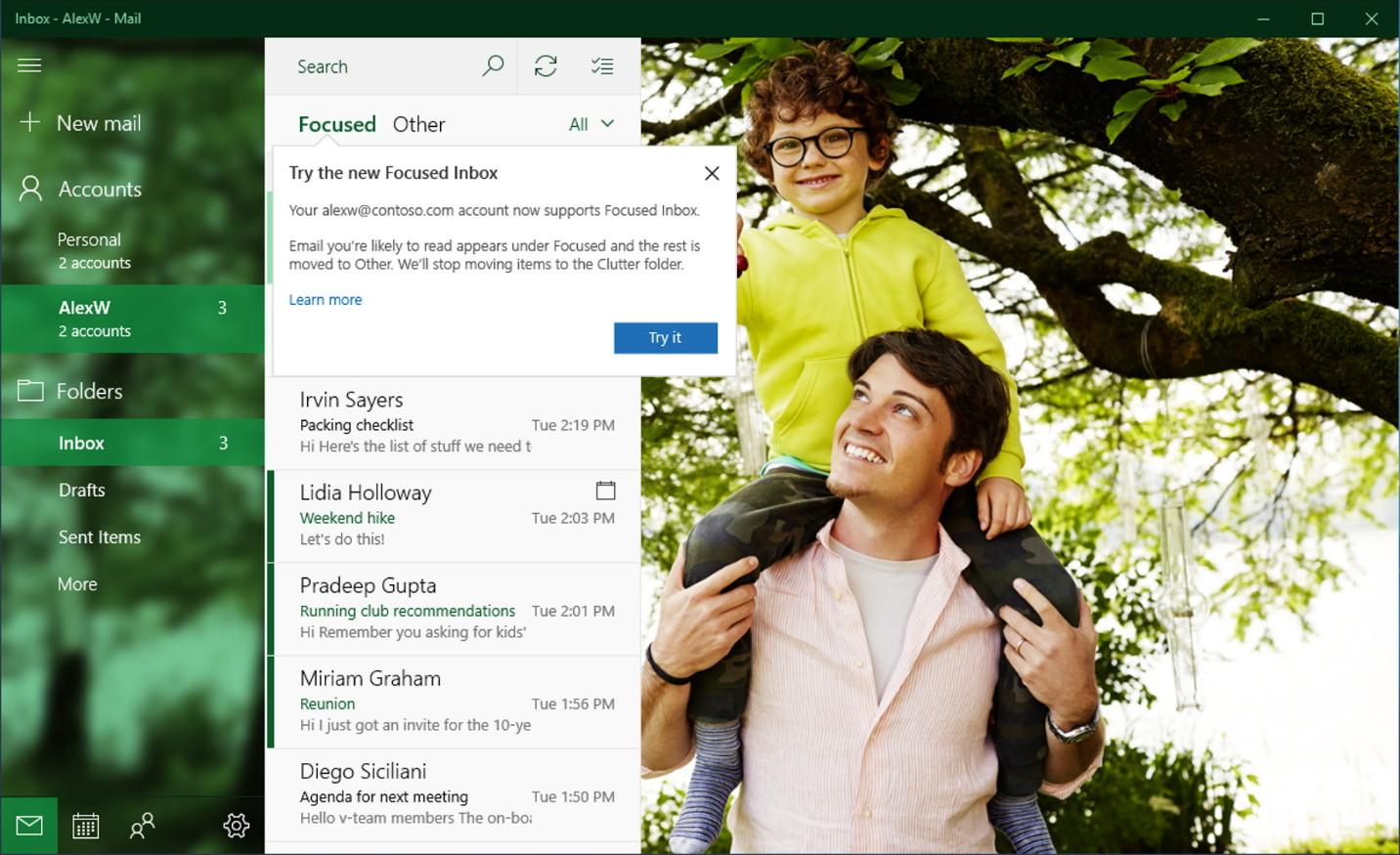 Windows 10 Mail app with Focused Inbox