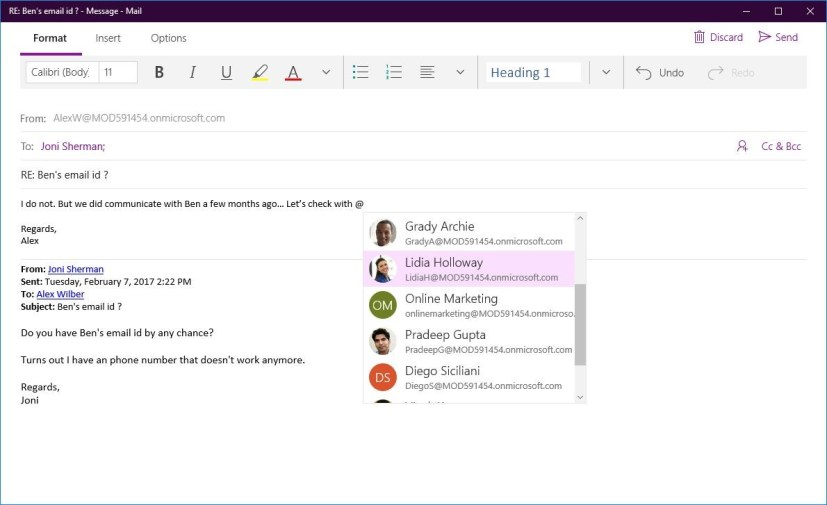 Windows 10 Mail Mentions