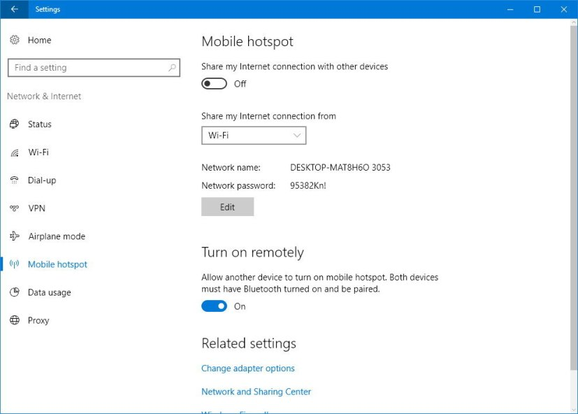 Mobile hotspot settings