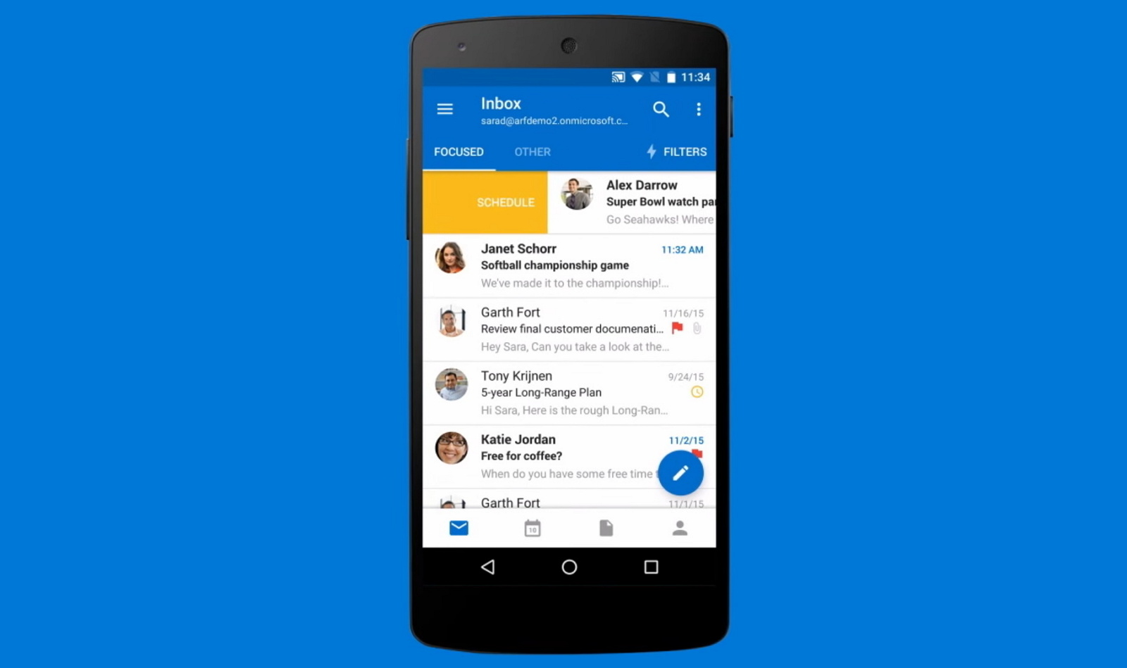 Outlook inbox on Android