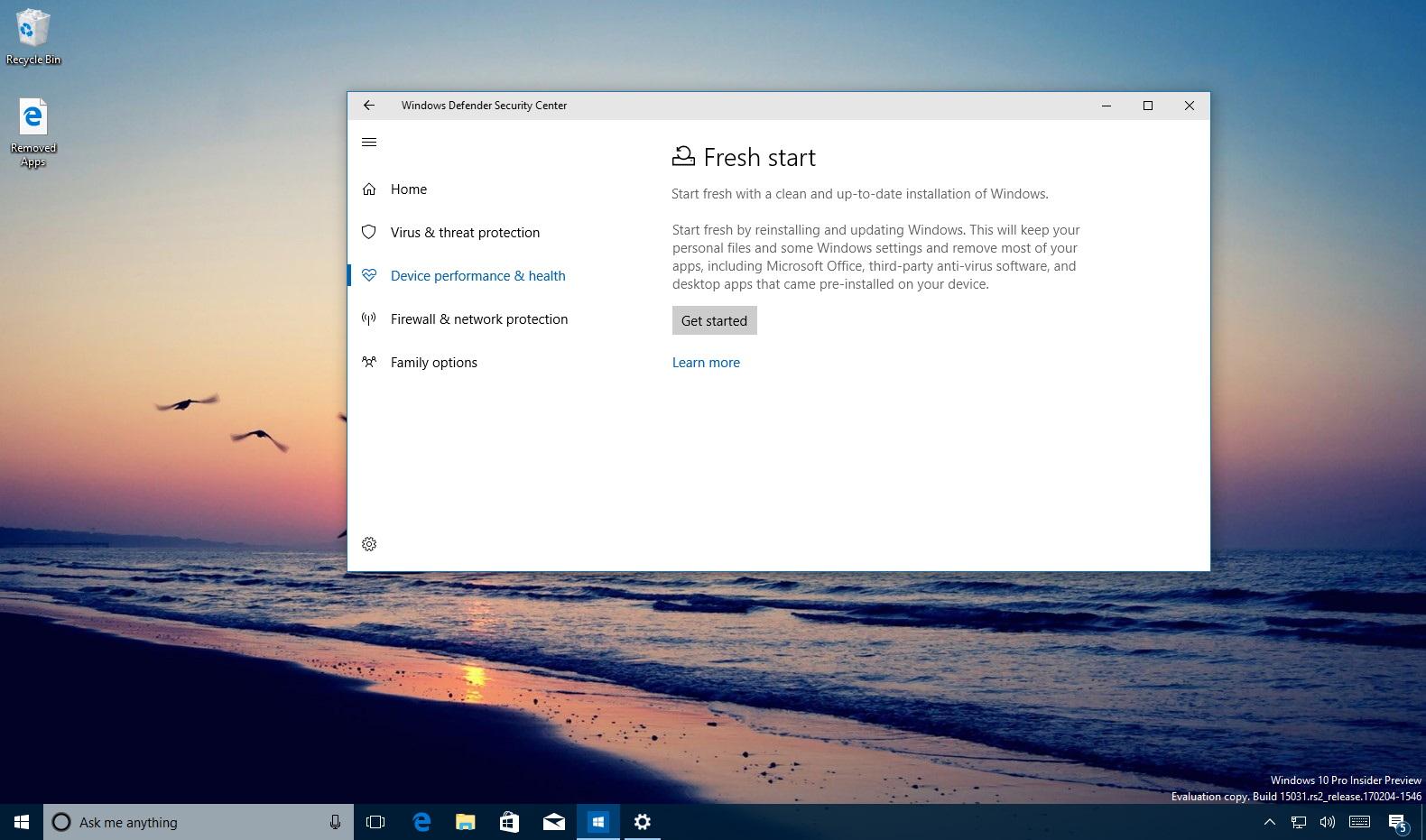 Reinstall and update Windows 10 using Windows Defender Security Center