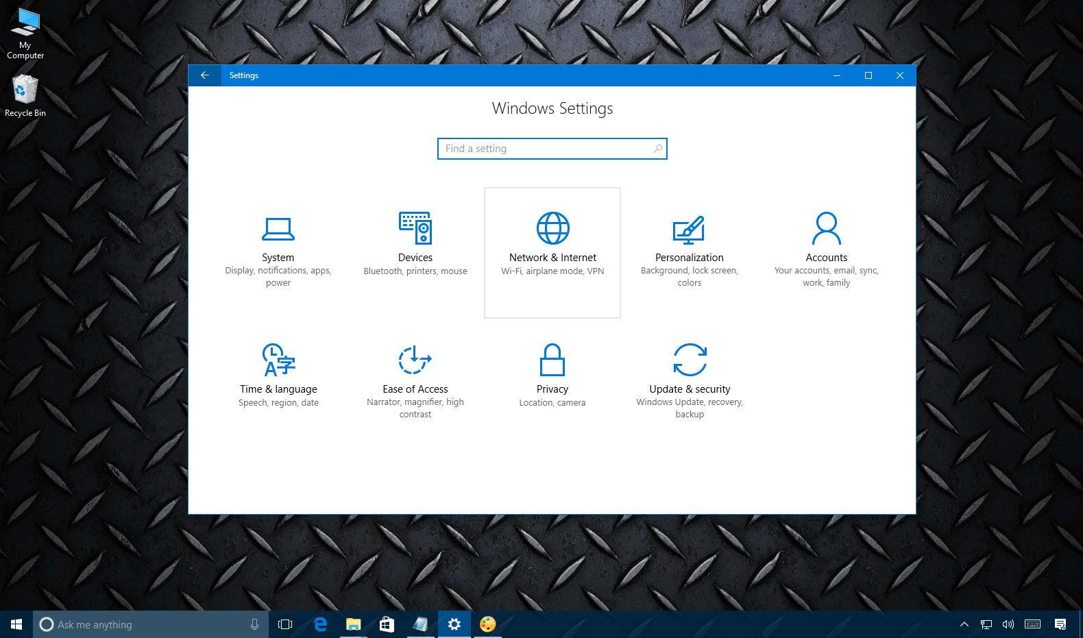 Windows 10 Network & Internet settings