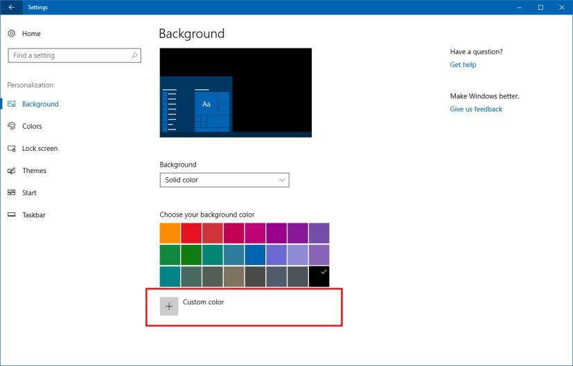 Custom color for desktop background