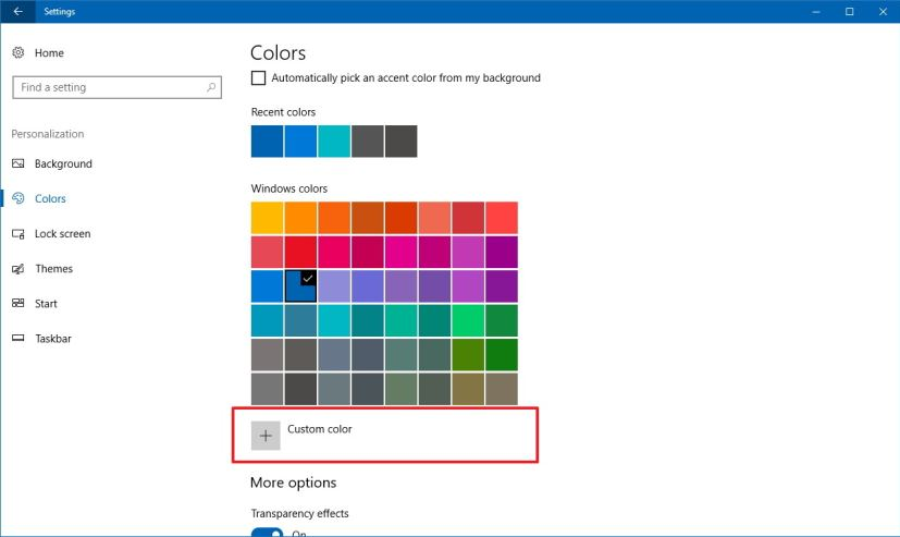 Custom color settings