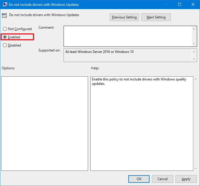 Exclude driver updates from Windows Update