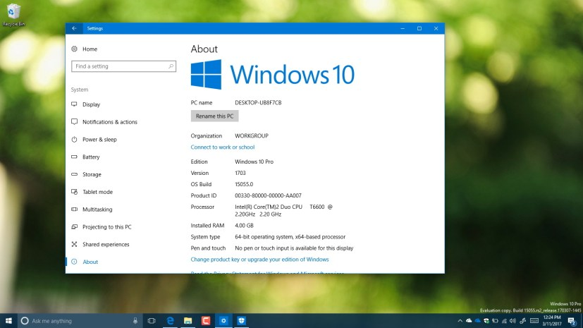 Windows 10 build 15055 video