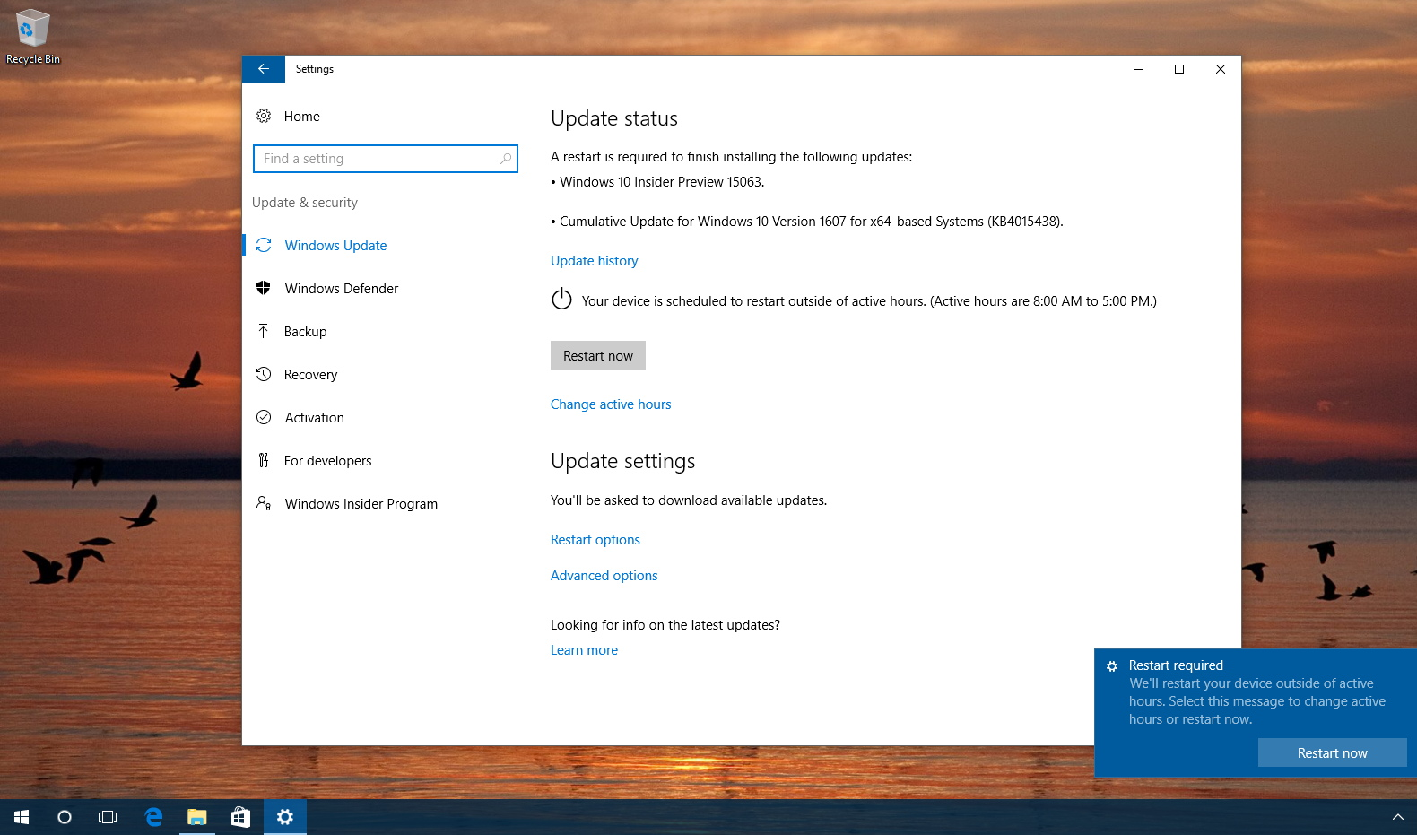 Windows 10 Creators Update on the Release Preview