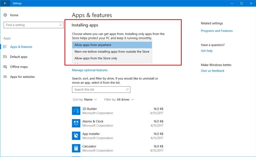 App installation options on the Windows 10 Creators Update