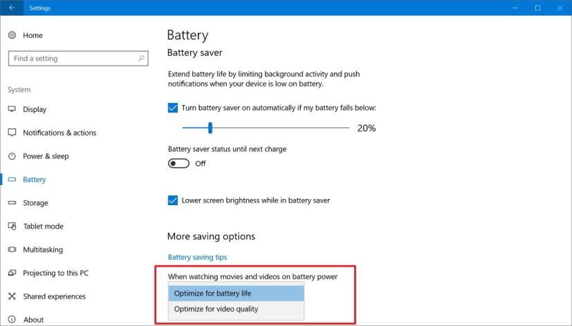 Battery saving options on Windows 10 Creators Update