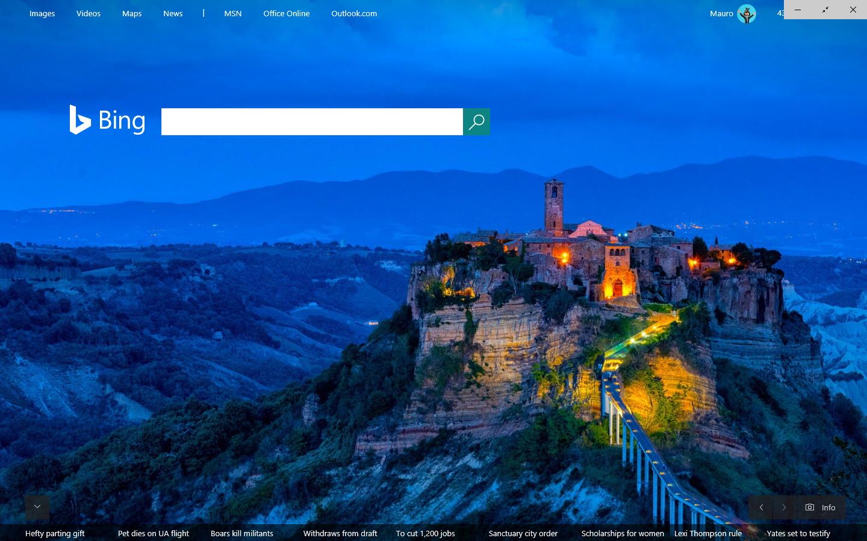Microsoft Edge in full-screen mode