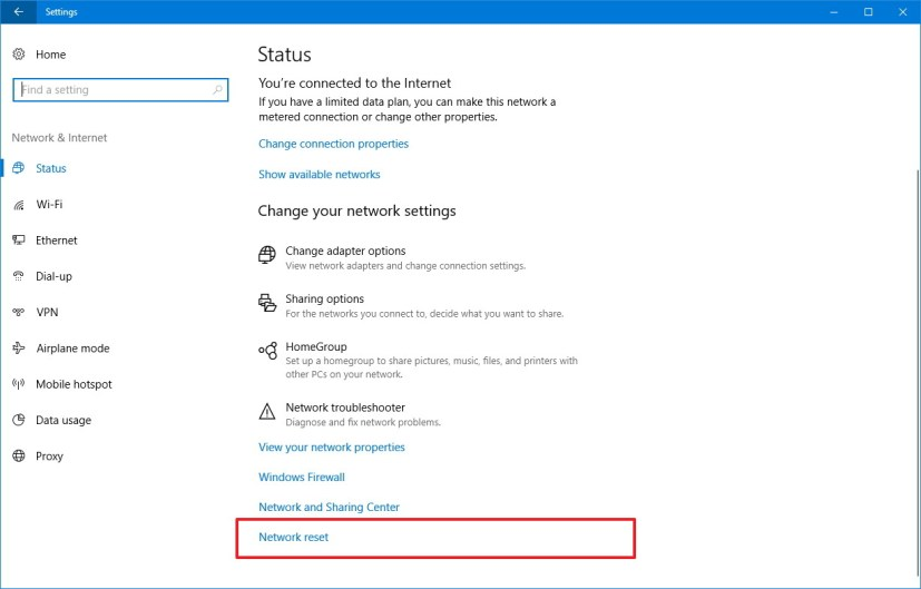 Network reset option on the Windows 10 Creators Update