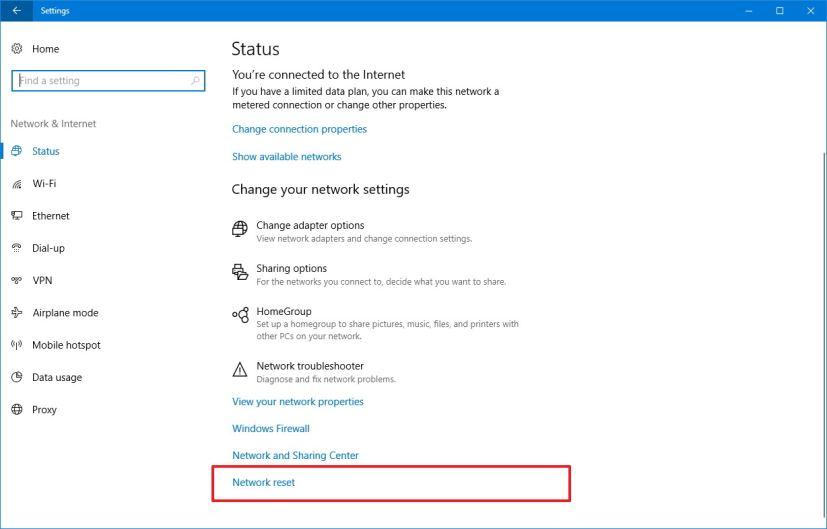 reset windows 10 network settings
