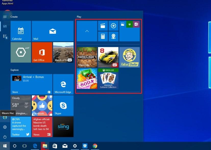 Folders on Start menu on Windows 10