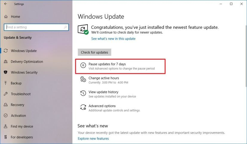 Windows Update settings on Windows 10 version 1903