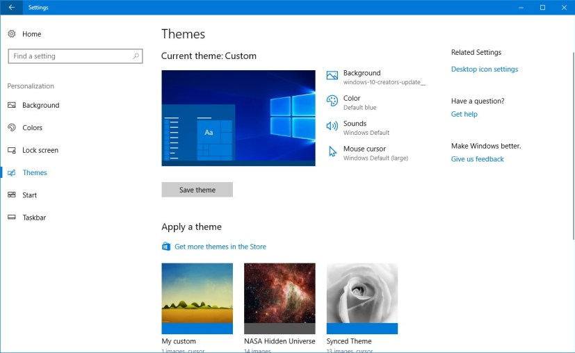 Themes settings on the Windows 10 Creators Update