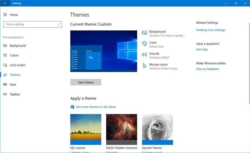Themes settings on the Windows 10 Creators Update