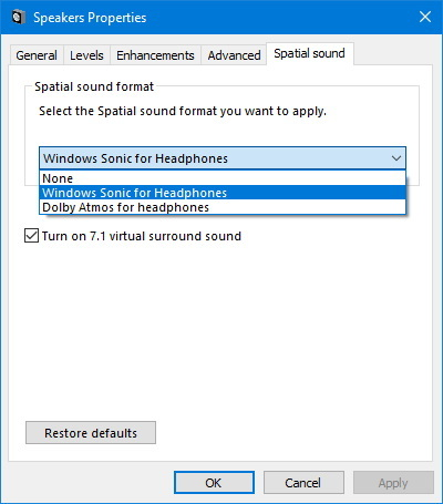 Spatial sound settings